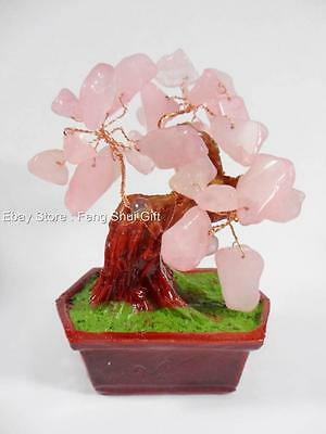 Fen Shui Chinese Japanese Pink Love Rose Stone Quartz Gemstone Bonsai Lucky Tree