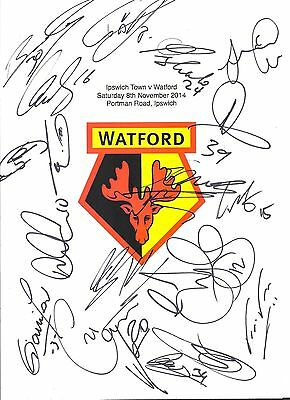 An A4 white card with the Watford Badge. Signed by 17 players on 08.11.14.