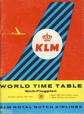 KLM Royal Dutch Airlines World Time Table Welt Flugplan 1962