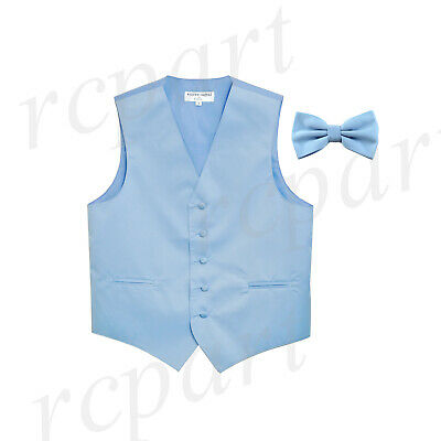 New Men's Formal Vest Tuxedo Waistcoat light blue_Bowtie wedding prom party