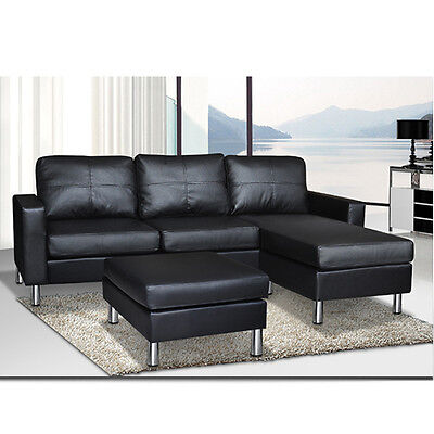 PU LEATHER CORNER Sofa Suite Lounge Couch Furniture Chaise Set With Ottoman  New