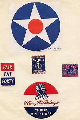 VINTAGE LOT OF 5 WWII WORLD WAR 2 ERA PATRIOTIC LABELS MILITARY ARMY NAVY