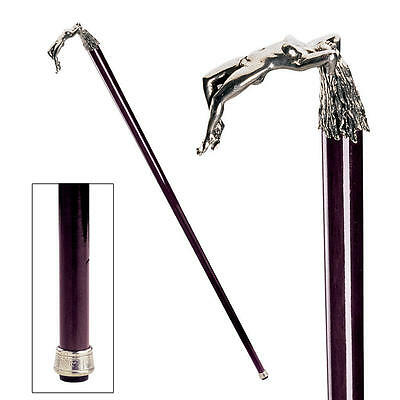 Italian Pewter Nude Female Temptress Handle Hardwood Cane Walking Stick