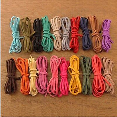 Multi Colors 5 Meters Korea Suede Flat Leather Cord Wire Lace String 3mm×1.5mm