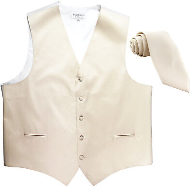 New Men's Formal Tuxedo Vest Waistcoat_Necktie Ivory wedding party prom