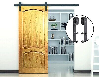 Sliding Barn Door Hardware Steel Rustic Interior Closet Doors Wood Black Antique