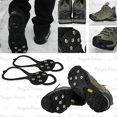 Winter Ice Snow Sand Ghat Non Slip proof Spikes Shoes Boots Grippers Crampon LOT
