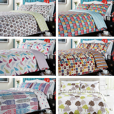 Contemporary Geometric Nordic 100% Cotton Percale Duvet Cover Quilt Bedding Set