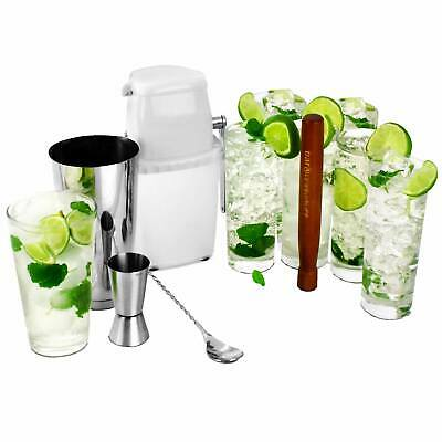 Mojito Cocktail Kit - Cocktail Set - 6 Hiball Glasses Ice Crusher & Accessories