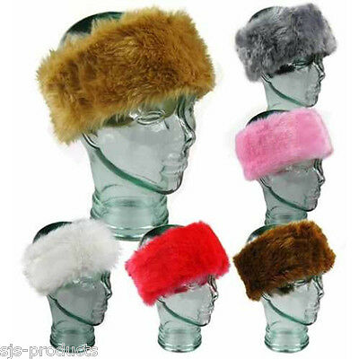 Ladies/Womens Soft Luxury 4 Inch Faux FOX FUR HEADBAND Ear Warmers SKI Hat NEW