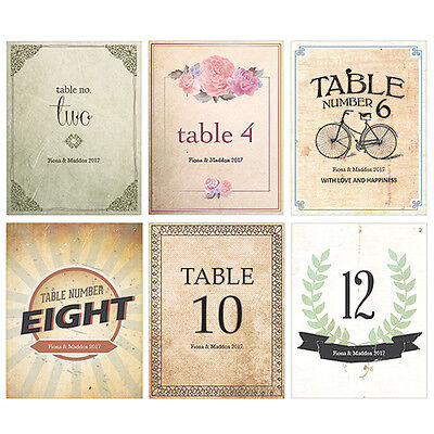 Personalized Vintage Medley Wedding Table Numbers