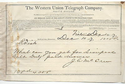1867 Receipt from the Western Union Telegraph Co San Francisco