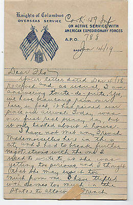 1919 WWI AEF Knights of Columbus Overseas Service Letterhead & Letter