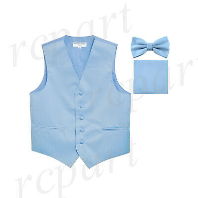 New Men's Light blue formal vest Tuxedo Waistcoat_bowtie & hankie set wedding