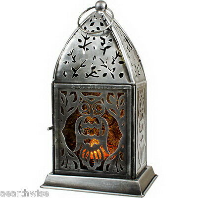 OWL GLASS & METAL LANTERN CANDLE HOLDER Wicca Pagan Witch Goth