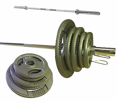 Olympic Tri-Grip Weight Bar Set-Rated Barbell-Cast Iron Plates