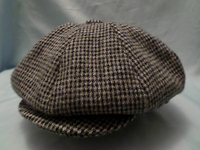 Check Harris Tweed Hat 100% Wool Newsboy Victorian Peaky Blinders Cap
