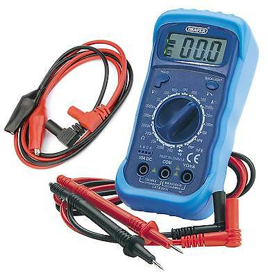Draper 60792 Digital Multimeter with Crocodile Clips DMM Electrical Test Meter