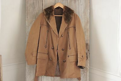 Vintage French canvas hunting coat faux fur jacket coat men's heavy