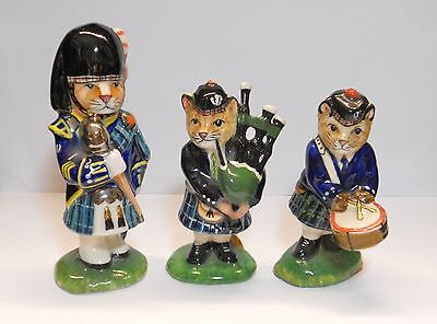 LOCH LOMOND CERAMICS CATS SCOTTISH BAGPIPE BAND TRIO~ MAJOR,BAGPIPER,DRUMMER