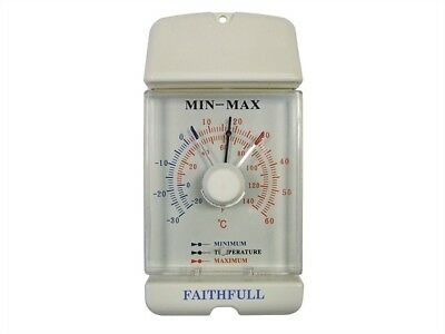 Faithfull Traditional Min - Max Dial Thermometer - Ideal for Gardeners