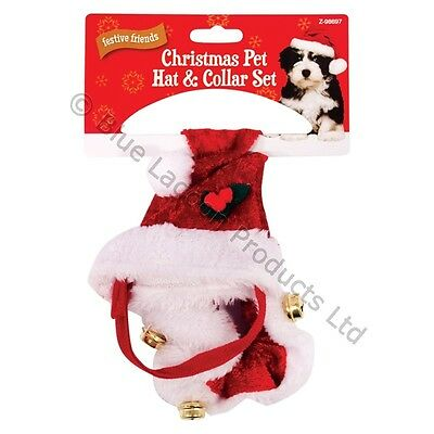 Christmas Small Dog Cat Santa Hat Outfit Collar Bell Xmas Elastic Gift