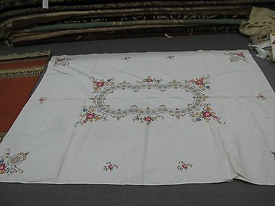 "Vintage Tablecloth Linen Cross Stitch Embroidered & Crochet Lace  60""x80"" Oblong"