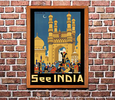 4 sizes, matte+glossy avail See India #5 Vintage Travel Poster