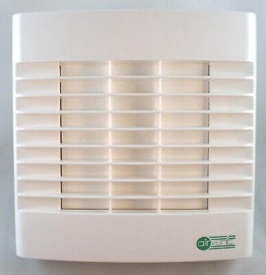 """Airvent Bathroom Extractor Fan Timer & Automatic Shutters 4"""" 100mm 220-240v"""