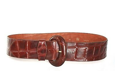 M - Vintage Belt - Wide brown tan leather croc-embossed wide belt  - 1990s