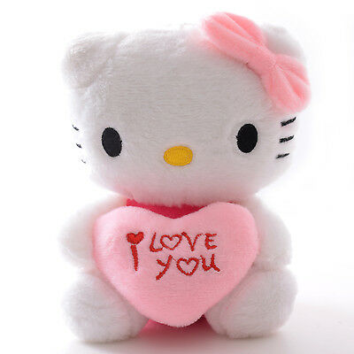 """Valentine's Day Gift Pink Heart  I Love You Hello Kitty  Plush Doll Toy 7"""" New"""