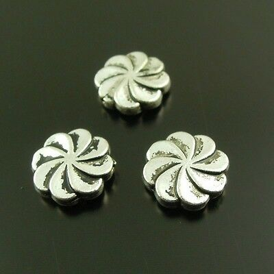 37896 Antique Silver Vintage Alloy Lovely Small Flower Pendant Beads Charms 98pc