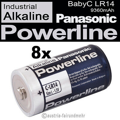 8x Baby C LR14 MN1400 Batterie PANASONIC POWERLINE INDUSTRIAL