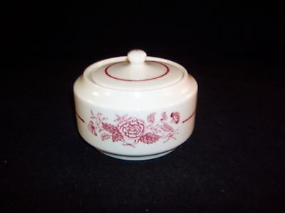 WALKER CHINA IVORY VITRIFIED E-53 TRANSFERWARE COVERED SUGAR BOWL
