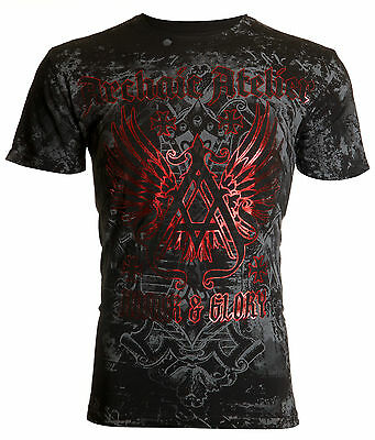 ARCHAIC by AFFLICTION Mens T-Shirt ACHILLES Cross Wings BLACK Biker UFC $40 NWT