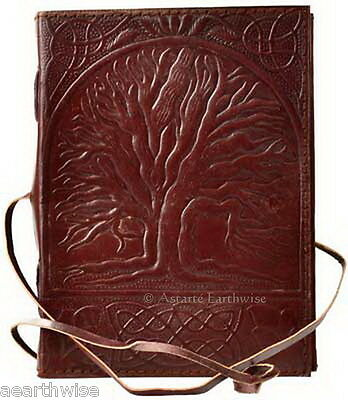 SACRED OAK TREE LEATHER JOURNAL Witch Wicca Pagan Book of Shadows Goth Spell