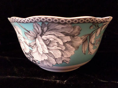 222 Fifth Adelaide Turquoise French Country Toile Bird 4 Soup/Cereal Bowls NIB