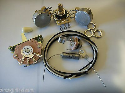 Wiring Kit For Stratocaster CTS Oak Switchcraft .022uf Gudeman PIO Capacitor