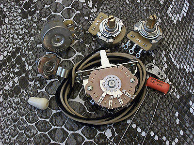 Primo Wiring Kit For Stratocaster CTS Oak Switchcraft .047uf Sprague 225P Strat