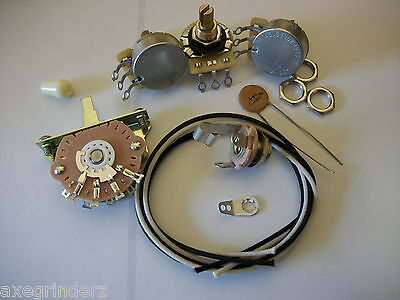 Wiring Kit For Stratocaster CTS Oak Switchcraft .1uf Tecate Ceramic Cap 1970's