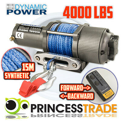 12V 4000lbs/1814kg 15m Synthetic Rope Electric Winch Wireless 4X4 4WD/Boat/ATV