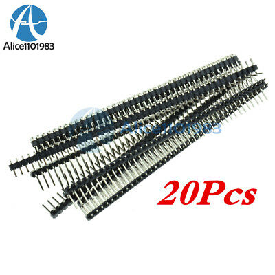 20Pcs 40Pin 2.54mm Single Row Right Angle Pin Header Strip for Arduino kit AL