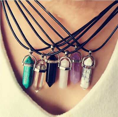 New Gemstone Natural Crystal Healing Point Reiki Beads Pendant Leather Necklace