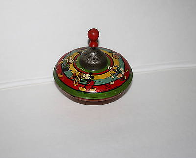 "DISNEY 1930's ""MICKEY MOUSE TIN LITHOGRAPHED SPINNING TOP"" 7"" VERSION-WORKS!!!!!"