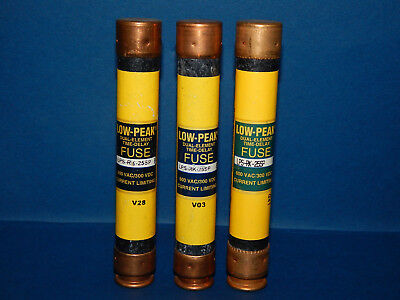 Lot of 4 Bussmann LPS-RK-25SP Low-Peak Fuses 25Amp 600VAC LPSRK25SP