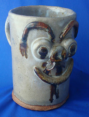 HUGE stoneware UGLY FACE pottery coffee mug cup signed LS vintage
