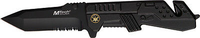 """MTech Knives Special Forces Rescue Black 4 5/8"""" Closed Folding Knife NM"""