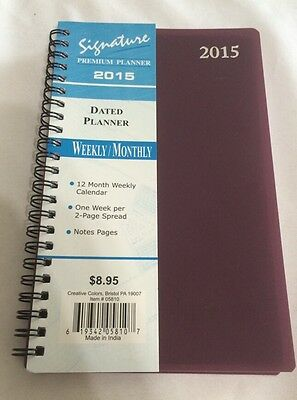 2015 Signature Series Dated Day Planner Calendar Weekly MONTHLY 5X8 Plum