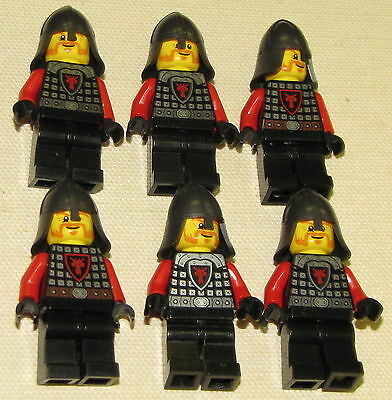 LEGO LOT OF 6 NEW CASTLE DRAGON KNIGHT MINIFIGURES WITH BLACK LEGS MEN FIGS