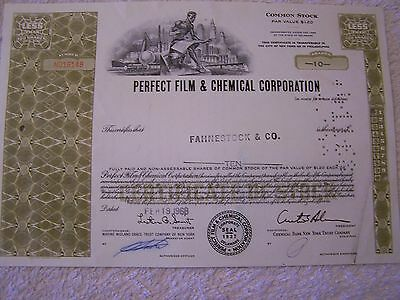 PERFECT FILM & CHEMICAL 10 SHARES DATED 1968 CANCELLED